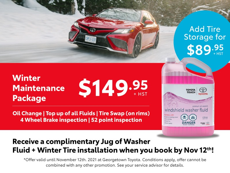 Get Your Winter Maintenance Package + Free Winter Tire Installation and a jug of Toyota washer fluid
